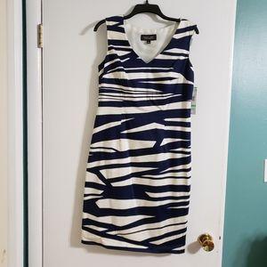 Black Label by Evan Picone zebra shift dress sz 8